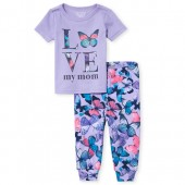Baby And Toddler Girls Short Sleeve 'Love My Mom' Butterfly Top And Print Pants Snug Fit Pajamas