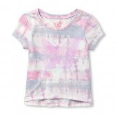 Baby And Toddler Girls Short Sleeve Tie Dye Sequin Graphic Top