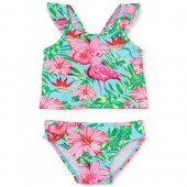 Baby And Toddler Girls Flamingo Print Ruffle Two Piece Tankini Swimsuit