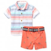 Baby Boys Short Sleeve Striped Chambray Button Down Shirt And Toucan Print Woven Chino Shorts Set