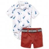 Baby Boys Americana Short Sleeve Dino Print Poplin Bodysuit And Woven Chino Shorts Set