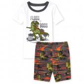 Boys Short Sleeve 'Floss Like A Boss' Dino Animated Top And Print Shorts Snug Fit Pajamas