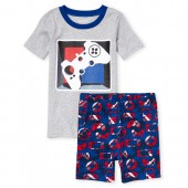 Boys Short Sleeve Glow In The Dark Video Game Top And Print Shorts Snug Fit Pajamas