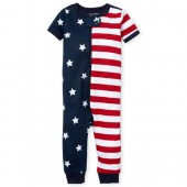 Unisex Baby And Toddler Americana Short Sleeve Stars And Stripes Print Snug Fit Stretchie