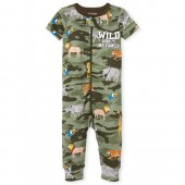 Baby And Toddler Boys Short Sleeve 'Wild About My Family' Animal Print Snug Fit Stretchie