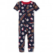 Baby And Toddler Boys Short Sleeve 'Daddy's Lil' Winner' Baseball Print Snug Fit Stretchie