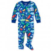 Baby And Toddler Boys Long Sleeve 'My Mom Is Dino-Mite' Dino Print Snug Fit Footed Stretchie