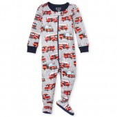 Baby And Toddler Boys Long Sleeve 'Mommy's Little Hero' Fire Truck Print Snug Fit Footed Stretchie