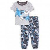 Baby And Toddler Boys Short Sleeve Dad Shark Top And Print Pants Snug Fit Pajamas