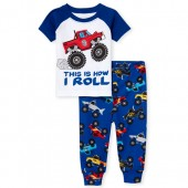 Baby And Toddler Boys Short Raglan Sleeve Monster Truck Top And Print Pants Snug Fit Pajamas