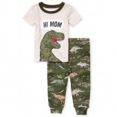 Baby And Toddler Boys Short Sleeve 'Hi Mom' Dino Top And Print Pants Snug Fit Pajamas