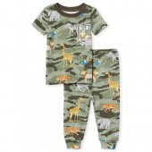 Baby And Toddler Boys Short Sleeve 'Wild About My Family' Animal Print Top And Pants Snug Fit Pajamas