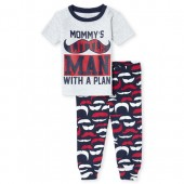 Baby And Toddler Boys Short Sleeve 'Mommy's Little Man' Mustache Print Top And Pants Snug Fit Pajamas