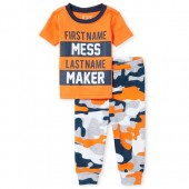 Baby And Toddler Boys Short Sleeve Glow In The Dark 'Mess Maker' Top And Camo Pants Snug Fit Pajamas
