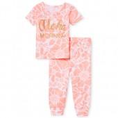 Baby And Toddler Girls Short Sleeve Glitter 'Aloha Morning' Top And Print Pants Snug Fit Pajamas