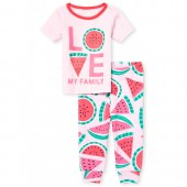 Baby And Toddler Girls Short Sleeve 'Love My Family' Watermelon Top And Print Pants Snug Fit Pajamas