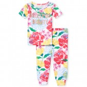 Baby And Toddler Girls Short Sleeve Glitter 'Hashtag Sleeping Beauty' Floral Print Top And Pants Snug Fit Pajamas