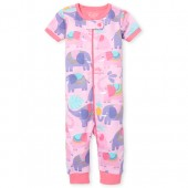 Baby And Toddler Girls Short Sleeve Elephant Print Snug Fit Stretchie