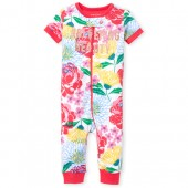Baby And Toddler Girls Short Sleeve Glitter 'Hashtag Sleeping Beauty' Floral Print Snug Fit Stretchie