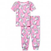 Baby And Toddler Girls Short Sleeve Unicorn Print Top And Pants Snug Fit Pajamas