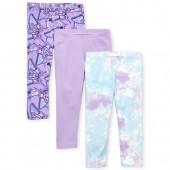 Girls Print And Solid Capri Leggings 3-Pack