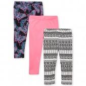 Girls Print Capri Leggings 3-Pack