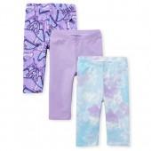 Toddler Girls Print And Solid Capri Leggings 3-Pack