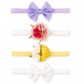 Baby Girls Flower Headwrap 4-Pack