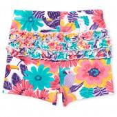 Baby Girls Tropical Flower Bird Print Ruffle Knit Shorts