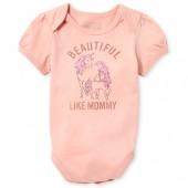 Baby Girls Short Sleeve Glitter 'Beautiful Like Mommy' Unicorn Graphic Bodysuit