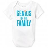 Unisex Baby Short Sleeve 'Genius Of The Family' Graphic Bodysuit