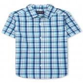 Boys Short Sleeve Plaid Poplin Button-Down Shirt