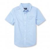 Boys Short Sleeve Print Poplin Button-Down Shirt