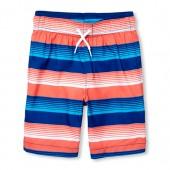 Boys Striped Swim Trunks