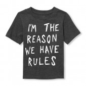 Baby And Toddler Boys Short Sleeve Glow-In-The-Dark 'I'm The Reason We Have Rules' Graphic Tee