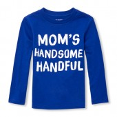 Baby And Toddler Boys Long Sleeve 'Mom's Handsome Handful' Graphic Tee