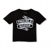 Baby And Toddler Boys Short Sleeve 'Trouble Maker' Graphic Tee