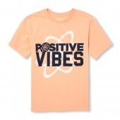 Boys Short Sleeve 'Positive Vibes' Graphic Tee