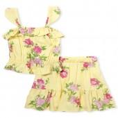Girls Sleeveless Floral Ruffle Top And Woven Skirt Set
