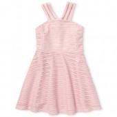 Girls Sleeveless Textured Woven Halter Dress