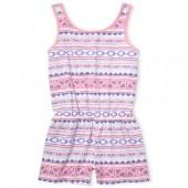Girls Sleeveless Print Knit Criss Cross Back Romper