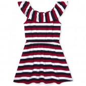 Girls Americana Short Sleeve Striped Ruffle Knit Dress