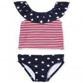 Baby And Toddler Girls Americana Stars And Stripes Print Two Piece Tankini Swimsuit