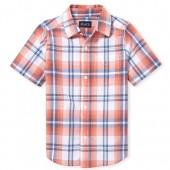 Boys Short Sleeve Plaid Poplin Button Down Shirt