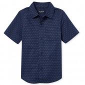 Boys Americana Short Sleeve Dot Print Poplin Button Down Shirt