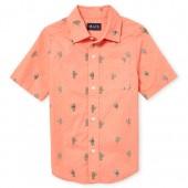 Boys Short Sleeve Cactus Print Poplin Button Down Shirt