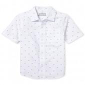 Boys Americana Short Sleeve Diamond Print Poplin Button Down Shirt