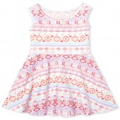 Baby And Toddler Girls Sleeveless Print Knit Dress