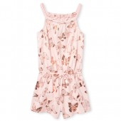 Baby And Toddler Girls Sleeveless Foil Butterfly Print Knit Romper