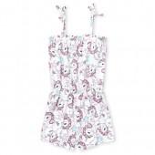 Baby And Toddler Girls Sleeveless Unicorn Print Knit Romper